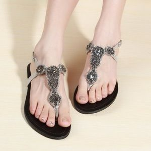 Steve Madden Large jewel rhinestone thong sandals